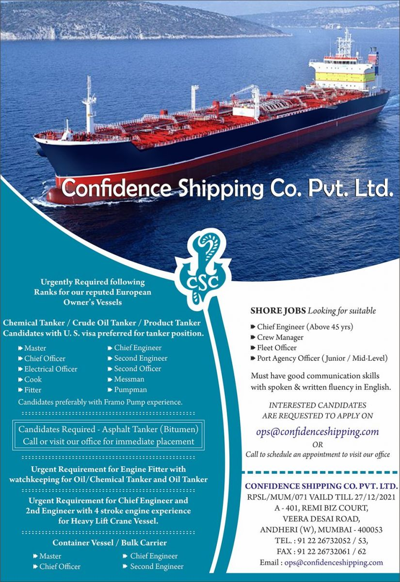 Confidence Shipping Co  Pvt  Ltd-RPSL-MUM-071 - seafarerjobs com