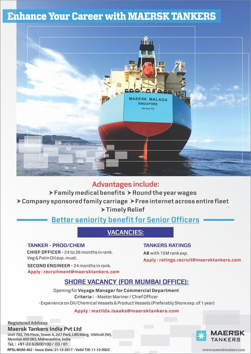 Maersk Tankers - RPSL-MUM-462 - seafarerjobs com